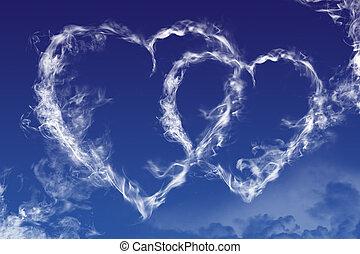Sky hearts - Hearts shaped clouds on sky