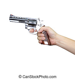 Hand holding a gun on white background