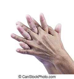 Closeup of senior hands on white background