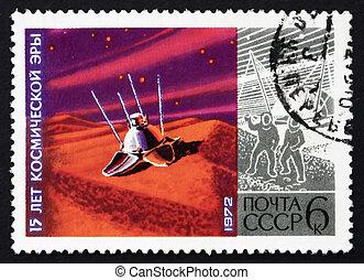Franqueo, estampilla,  1972, luna,  lunokhod, Rusia