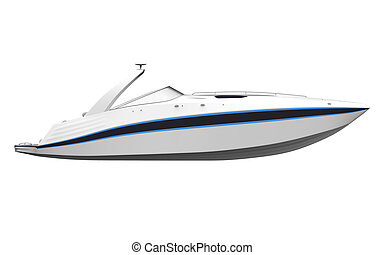 White Speedboat Isolated on White Background. 3D render