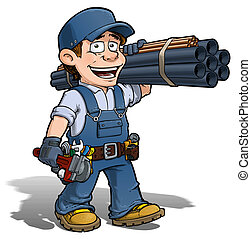 Handyman - Plumber Blue - Cartoon illustration of a handyman...