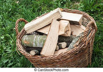 Closeup basket of cut logs fire wood on green grass,...