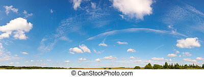 Blue sky panorama - Blue height sky above the meadow with...