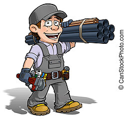 Handyman - Plumber Gray - Cartoon illustration of a handyman...