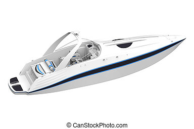 White Speedboat Isolated on White Background 3D render