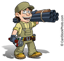 Handyman - Plumber Khaki - Cartoon illustration of a...