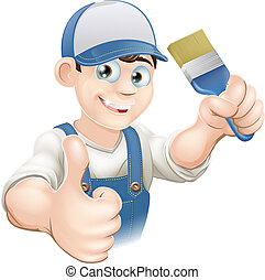 Cartoon painter decorator - Illustration of a cartoon...