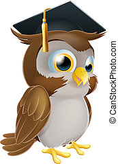 Graduate Owl - Illustration of a cute cartoon wise owl...