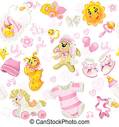 Seamless pattern of clothing, toy and stuff its a girl
