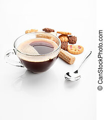 Cookies and cup of coffe - different cookies with a cup of...