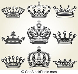 Set crowns in vintage style - The vector image Set crowns in...