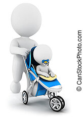 3d white people baby in a stroller - 3d white people pushing...