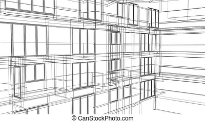 Wire Frame Architectural Background made in 3d software