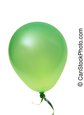 Green balloon with ribbon isolated on white background with...