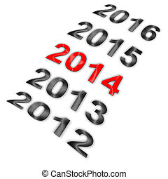 Year series with highlighted 2014 - Illustration of series...