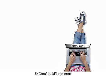 woman siting on floor computing lap - girl sitting on the...
