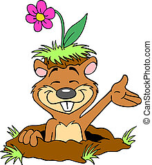 Happy Gopher With Flower - Hand drawn cartoon of a cute...