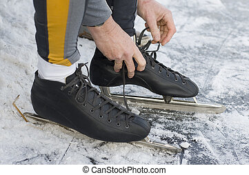 Put on the skates at the ice