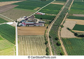 Aerial view of a small cow farm