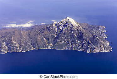 Mount Athos, Greece, aerial view - Agion Oros, Mount Athos,...