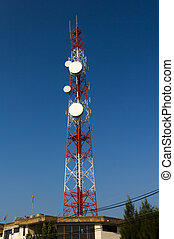 communication towers - Tower with antennas of cellular...