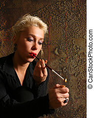 The blonde with a cigarette in studio