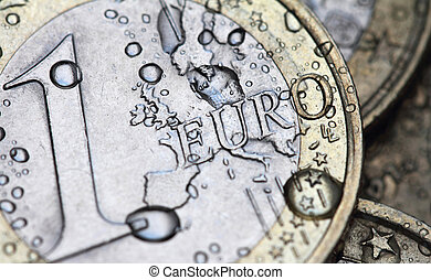 euro coin detail with water drops - wet euro coin detail...