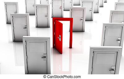 3, csukott, ajtók, fehér, egy, piros,...