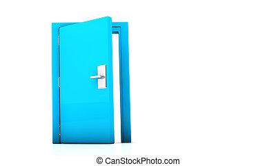3d blue door