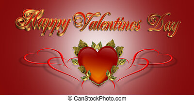 Valentines Day background Card - 3D Valentine illustration...