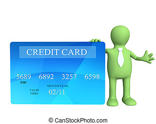 Credit card - 3d puppet holding a new credit card