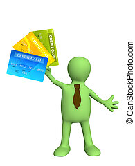 Credit cards - 3d puppet holding a new credit cards