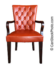 A traditional leather armchair upholstered isolated on white...