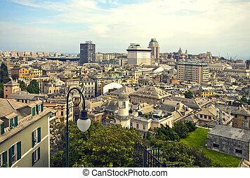 Genoa - Italy, panorama of the city center