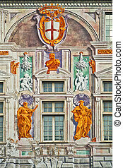 Genoa - Italy, St. George Palace, facade detail - Beautiful...