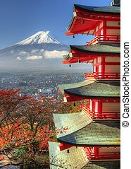 Fuji and Pagoda - Mt Fuji and chureito pagoda in Japan