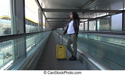 modern pregnant in walkway escalato - pregnant woman in...