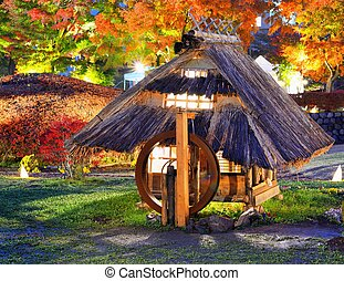 Historic Japanese Huts - Replica of old japanese huts in...