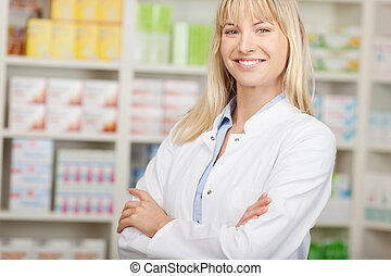 confident pharmacist with crossed arms