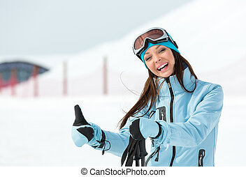 Portrait of woman who goes skiing - Half-length portrait of...