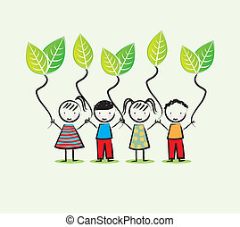 environmentalists children over white background vector...