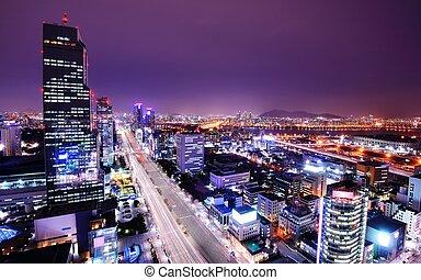 Gangnam District - Seoul, South Korea skyline at the Gangnam...