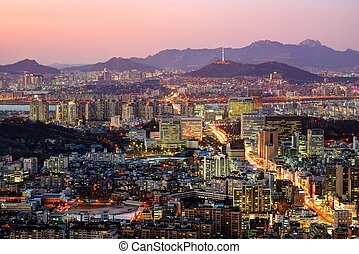 Seoul, South Korea Skyline - Aerial twilight view of Seoul,...