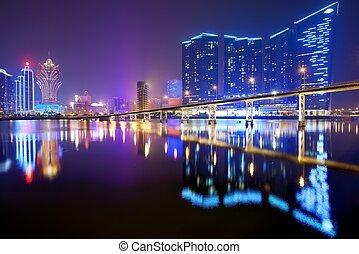 Macau, China - Resorts and casinos at Nam Van Lake in Macau...