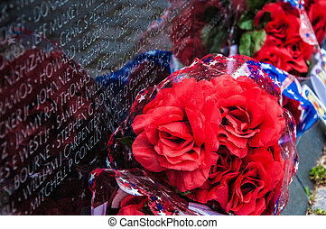 Vietnam Veterans Memorial, USA - People visit and lay...