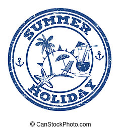 Summer holiday stamp - Summer holiday grunge rubber stamp on...