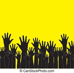 hands silhouettes over yellow background vector illustration...