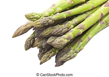 bunch of fresh asparagus close up on white