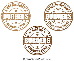 Burgers-stamps - Set of grunge rubber stamp with word...